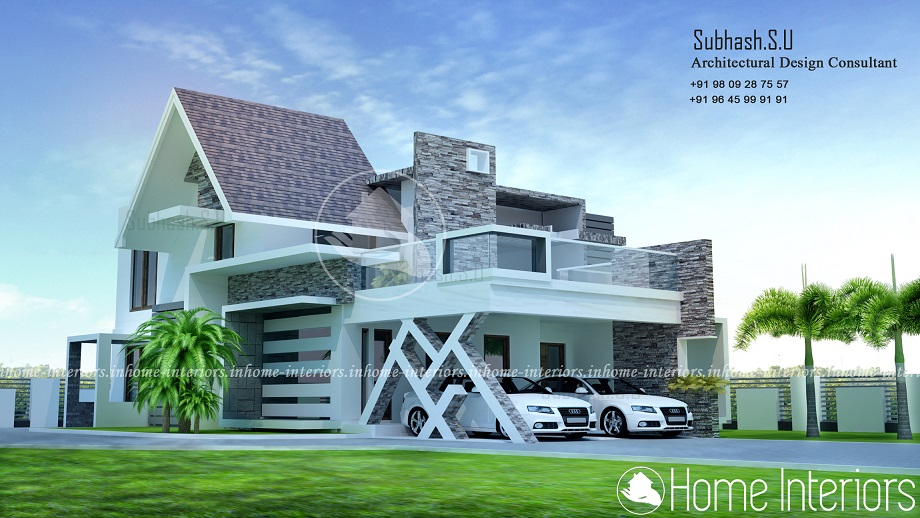 2500 square feet 3 bhk double floor contemporary home design for 2500 sq ft house plans in kerala