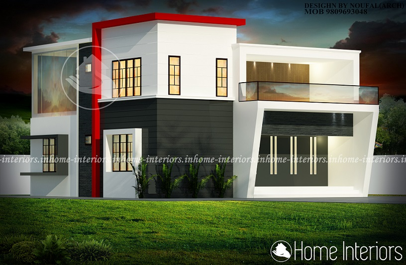 1700 square feet double floor contemporary budget home design for Modern house plans 1700 square feet