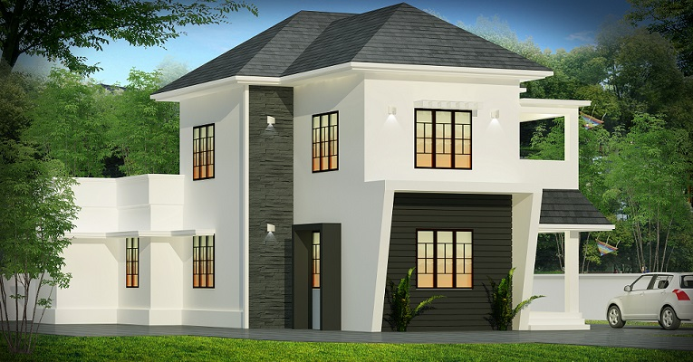 1500 Square Feet Double Floor 4 Bhk Contemporary Home Design