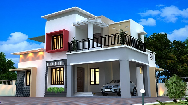 1350 Square Feet Double Floor Contemporary Home Design