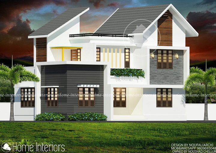 1700 square feet double floor contemporary home designs for Modern house plans 1700 square feet
