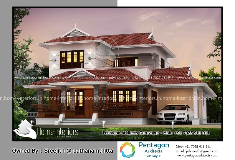 2041 Square Feet Double Floor Traditional Home Design