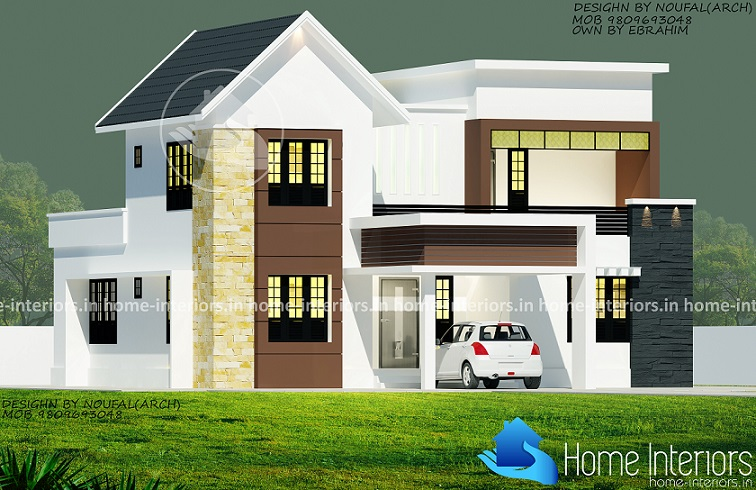 2400 square feet double floor 4 bhk modern home design for Modern house plans 2400 sq ft