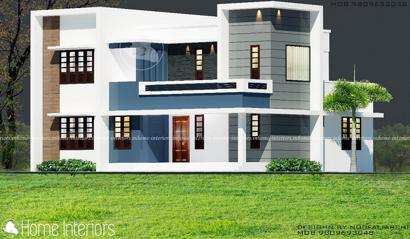 2000 square feet double floor white modern home design for 2000 sq ft contemporary house plans
