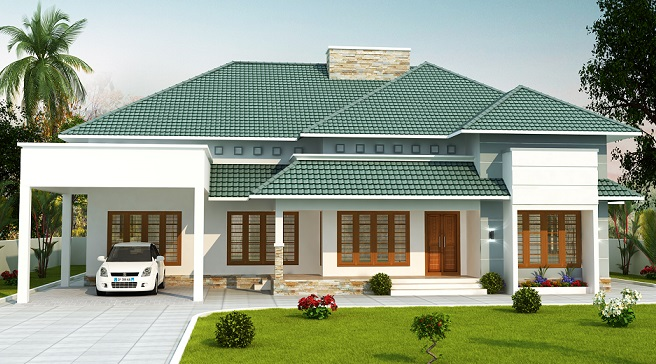 2500 square feet double floor 4 bhk modern home designs for Modern home plans 2500 sq ft