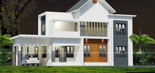 1800 Square Feet Double Floor 4 BHK Modern Home Designs