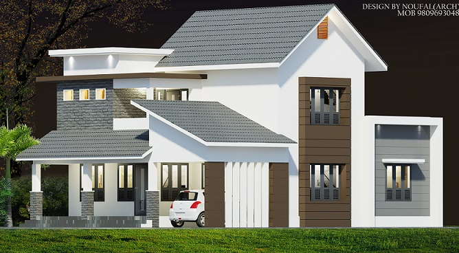 2500 square feet 4 bhk modern contemporary home design for Modern home plans 2500 sq ft