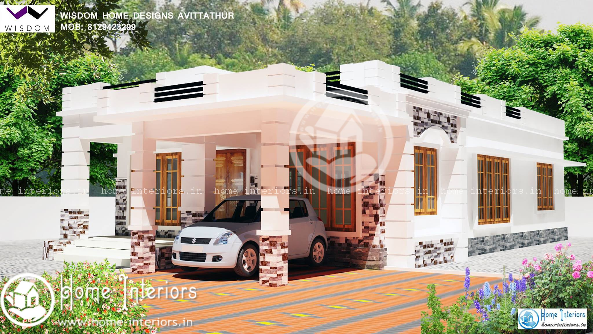 Beautiful double floor home design with free home plan for Beautiful home designs in kerala