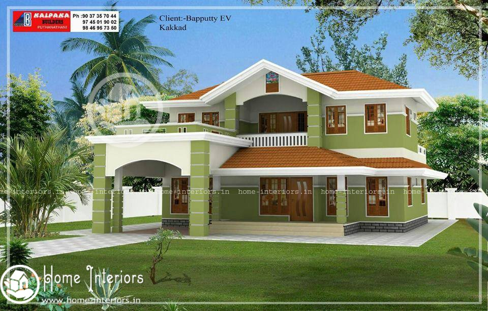 Beautiful double floor home design with free home plan for Home designs 2015