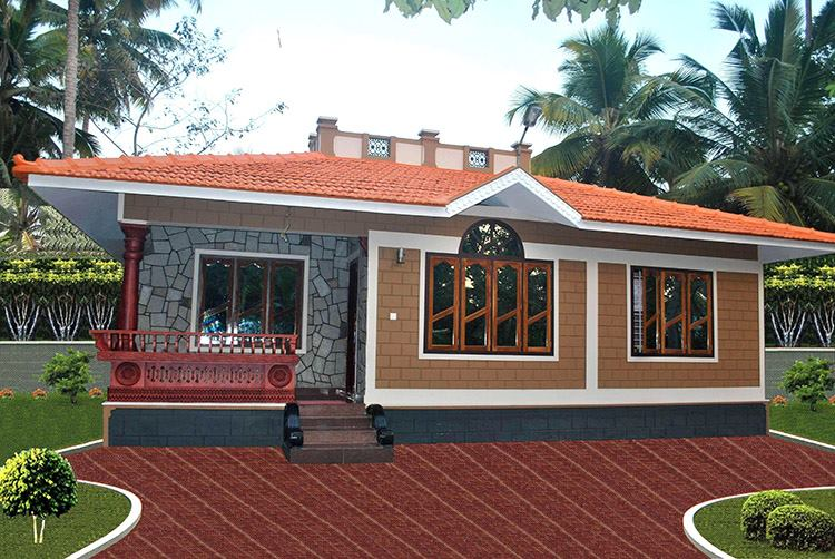 750 sq ft stylish home design 10 lakh for Low cost house plans with estimate