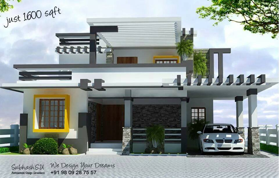 Modern concept home design 1600 sq ft for Sitout design ideas