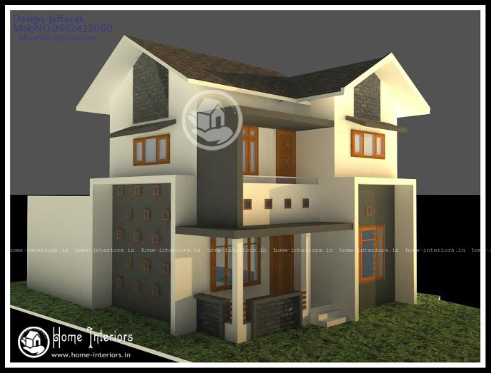 3BHK, Beautifully Designed Kerala Home Plan