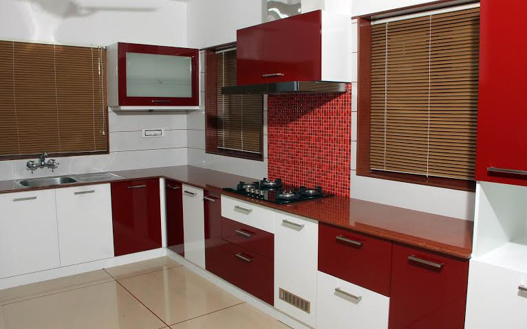 130 Sq Ft White Amp Merun Red Kitchen Interior Design