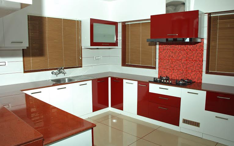 130 sq ft, White & Merun red Kitchen Interior Design