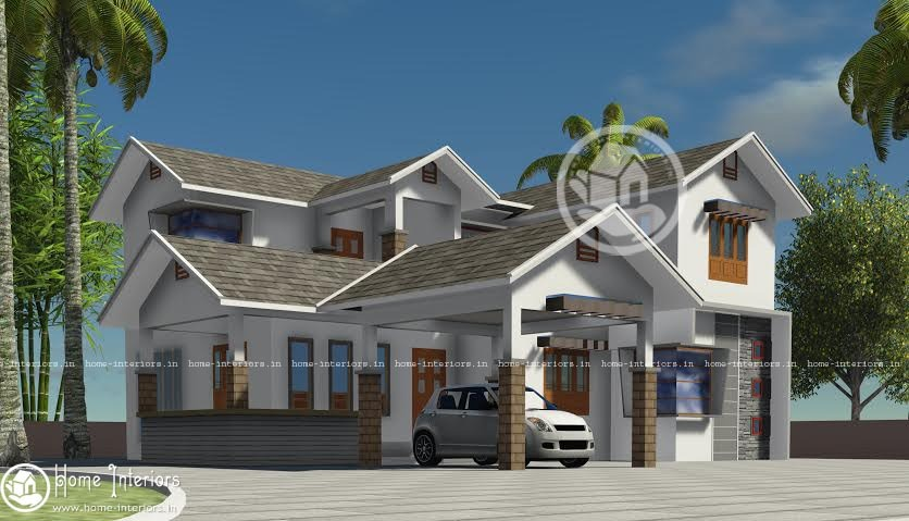 2314 Sq Ft, Modern sloping roof Home Design