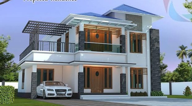 1365 sq ft super double floor home design with plan for Veedu elevation