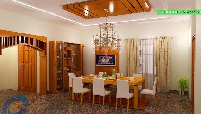 Dining, Living, Poomugam, Glossy Finish Interior Design
