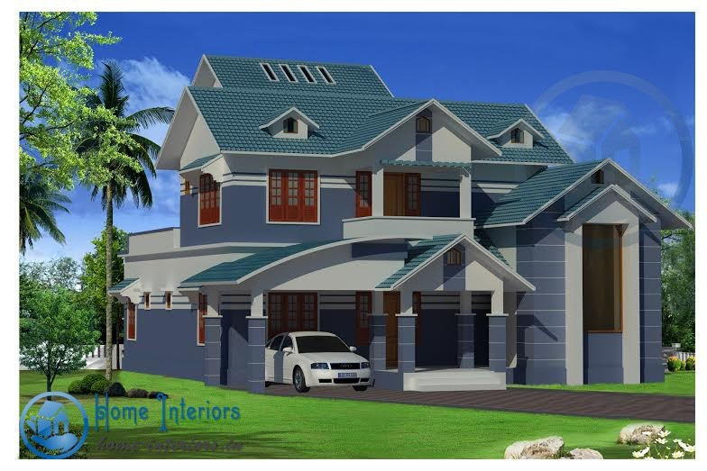 Double Floor Contemporary Home Plan 2264 Sq ft