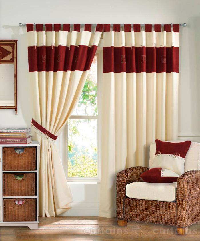 Awesome living room curtain designs for Red and cream curtains for living room