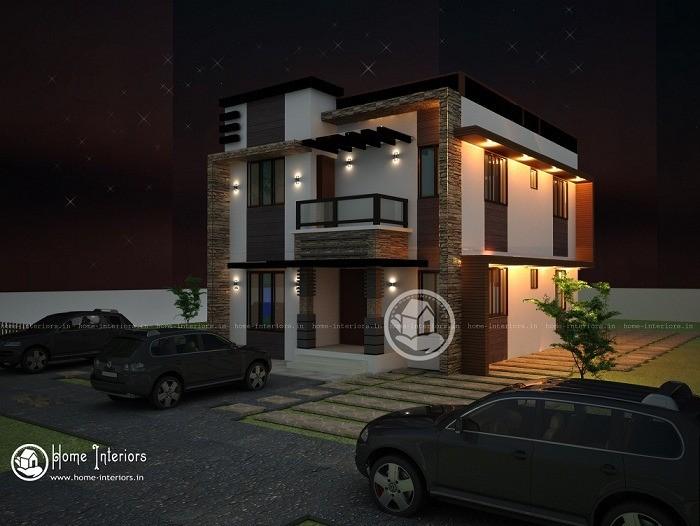 Stylish 1500 Sq Ft Double Floor Kerala Home Design