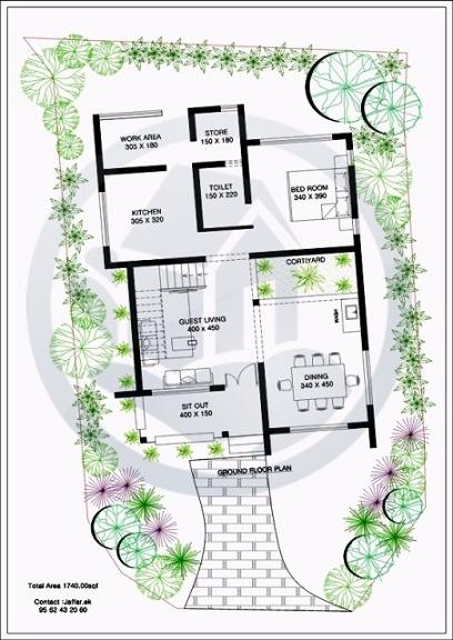 1740 Sq Ft Modern Classic Double Floor Home Design