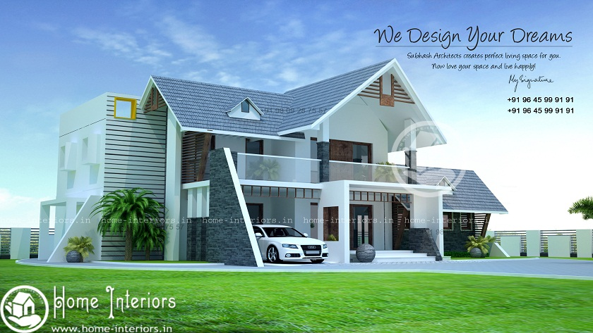 2600 Square Feet Double Floor Fusion Mix Home Design