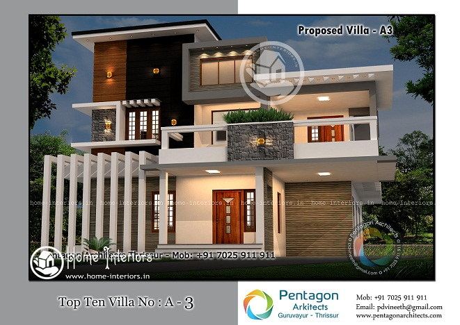 3612 Sq Ft Double Floor Contemporary Home Designs