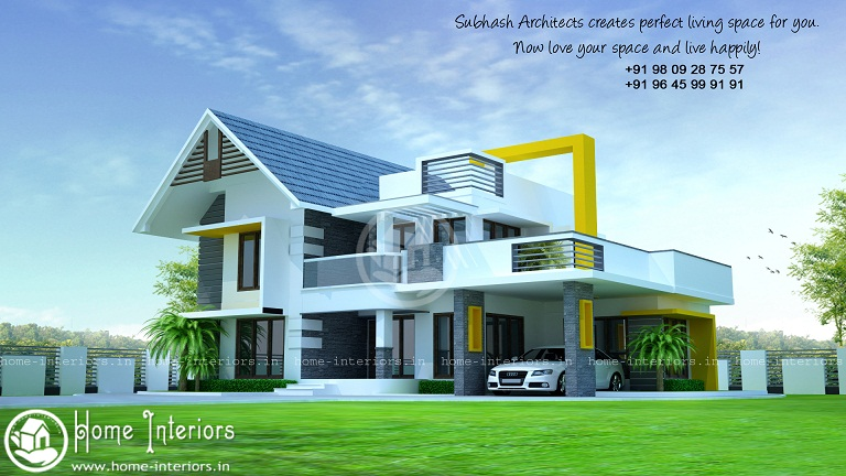2300 Sq Ft Double Floor Fusion Contemporary Home Design