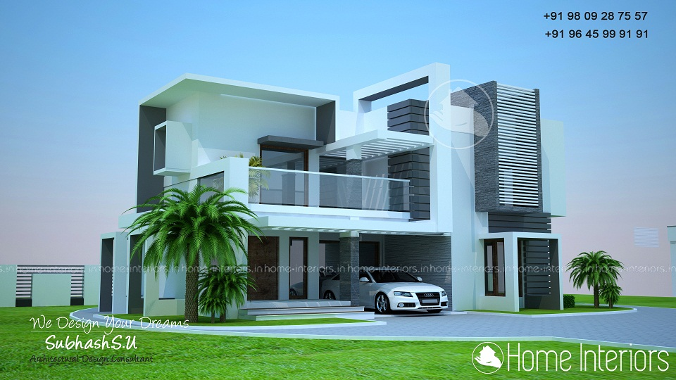 1900 square feet double floor contemporary home design for 1900 sq ft house plans kerala