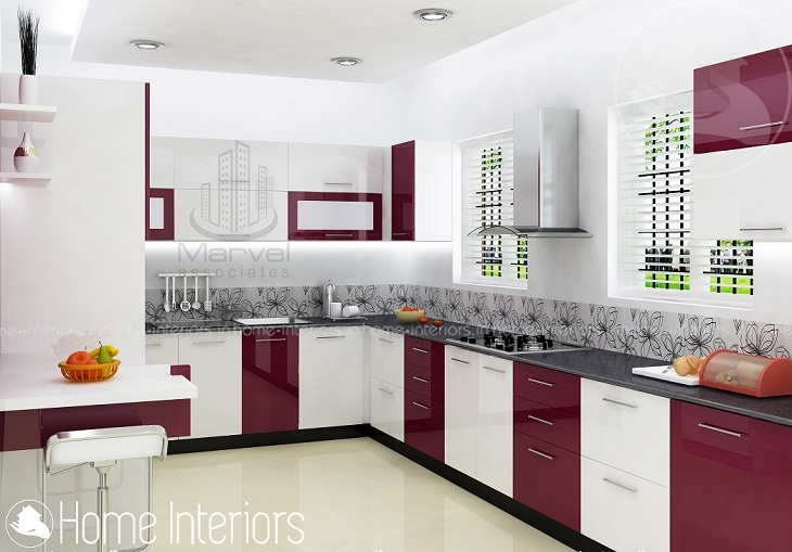 Fascinating contemporary budget home kitchen interior design for Kerala style kitchen photos