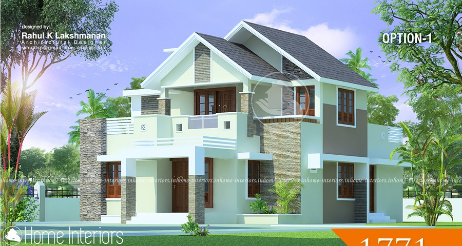 1771 Square Feet Double Floor Modern Traditional Home Design