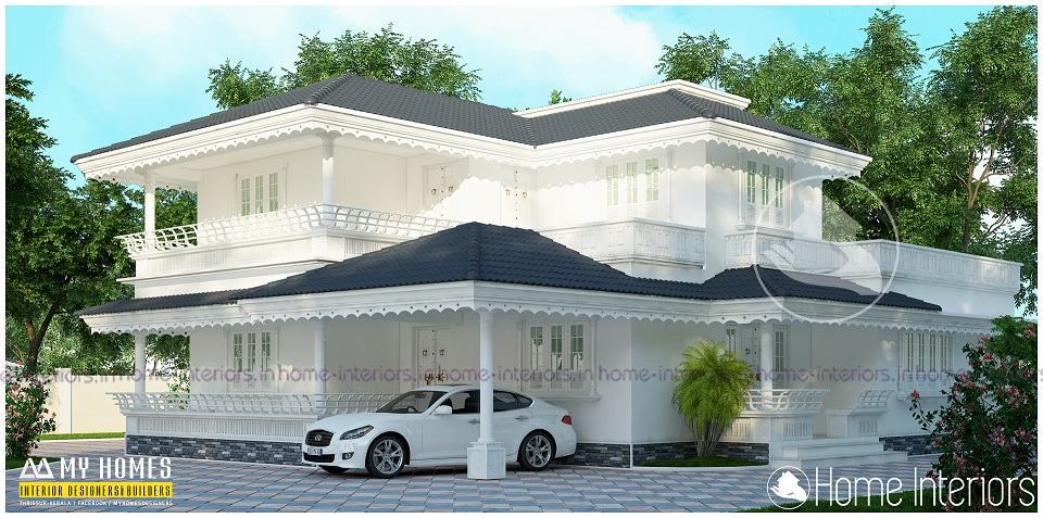3150 Square Feet Double Floor White Traditional Home Design