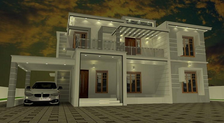 2500 Square Feet Double Floor Contemporary Home Designs