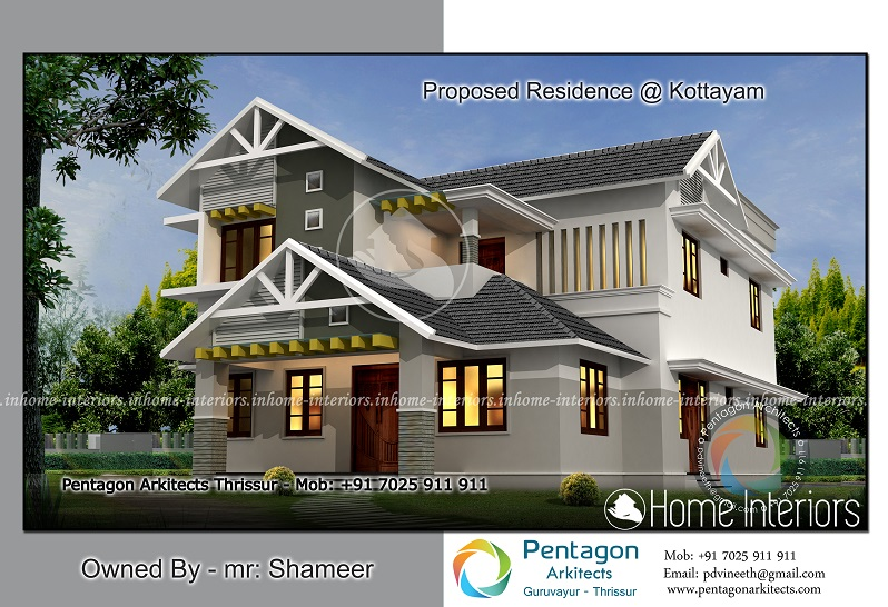 750 sq ft stylish home design 10 lakh for V muraleedharan family