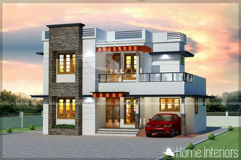 1500 Square Feet Double Floor Modern 4 BHK Home Design