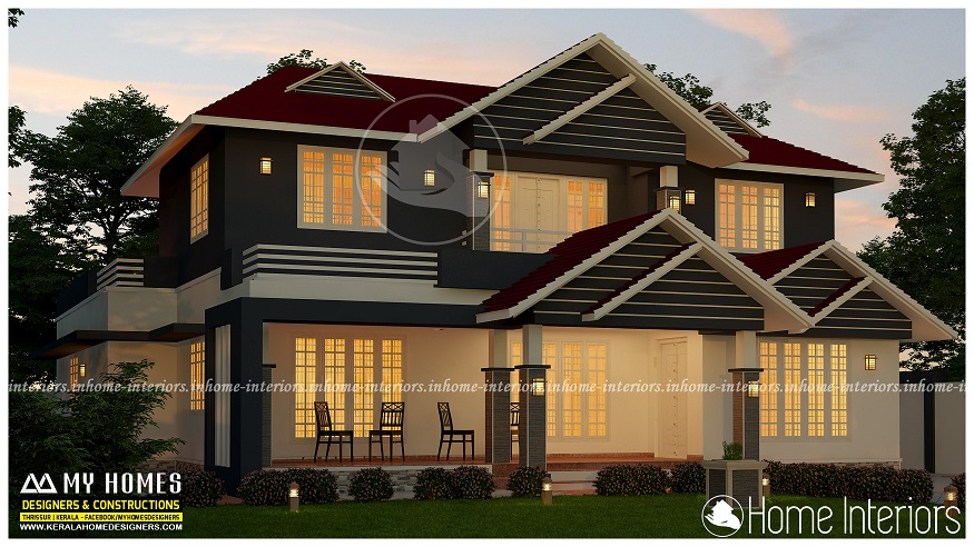 2700 Square Feet Double Floor 5 BHK Contemporary Home Design