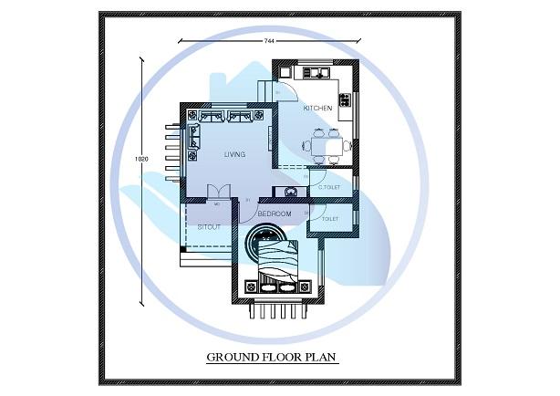 672 Square Feet Single Floor Low Budget Modern Home Design
