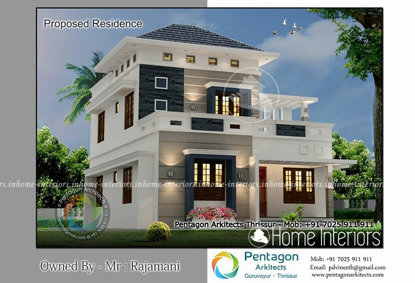 1600 Square Feet Double Floor 3 BHK Modern Home Design
