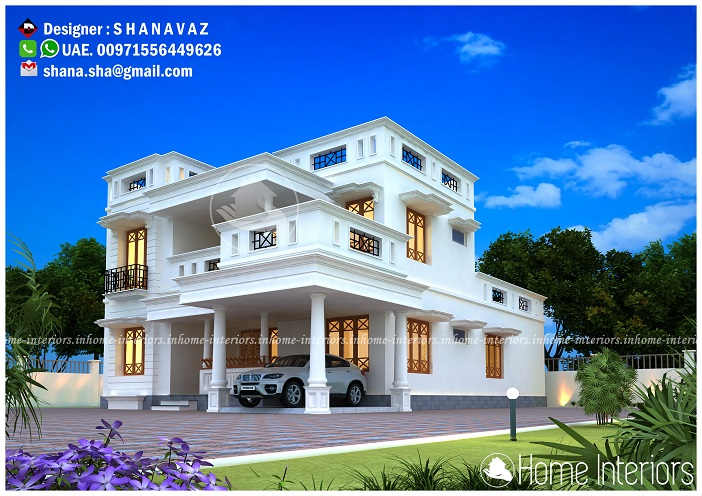 2150 Square Feet Double Floor Roman Style Home Design