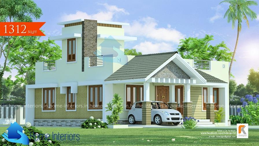 1312 Square Feet Single Floor Contemporary Home Design