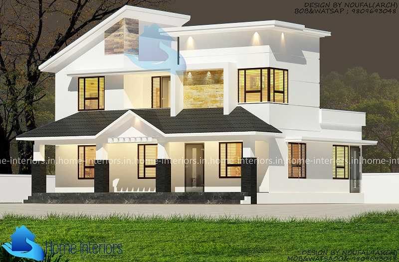 1450 square feet double floor low cost modern home design for Modern low cost house designs