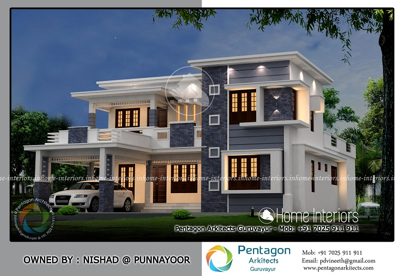2456 Square Feet Double Floor Contemporary Home Designs