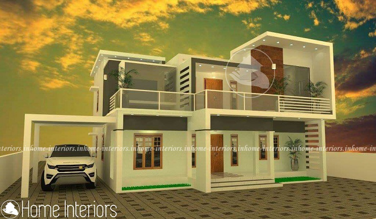 2800 Square Feet Double Floor Contemporary Home Designs