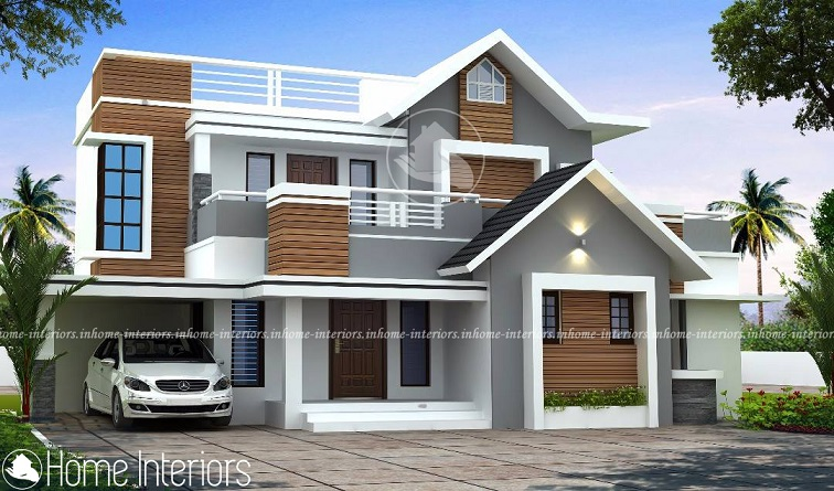 2200 Square Feet Double Floor 4 BHK Modern Home Design