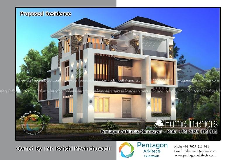 3715 Square Feet Triple Floor Contemporary Home Design