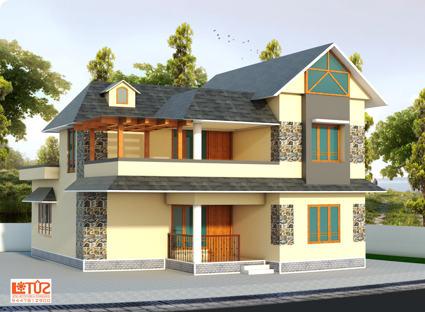2400 Sq ft , Modern Style Double Floor Home Plan