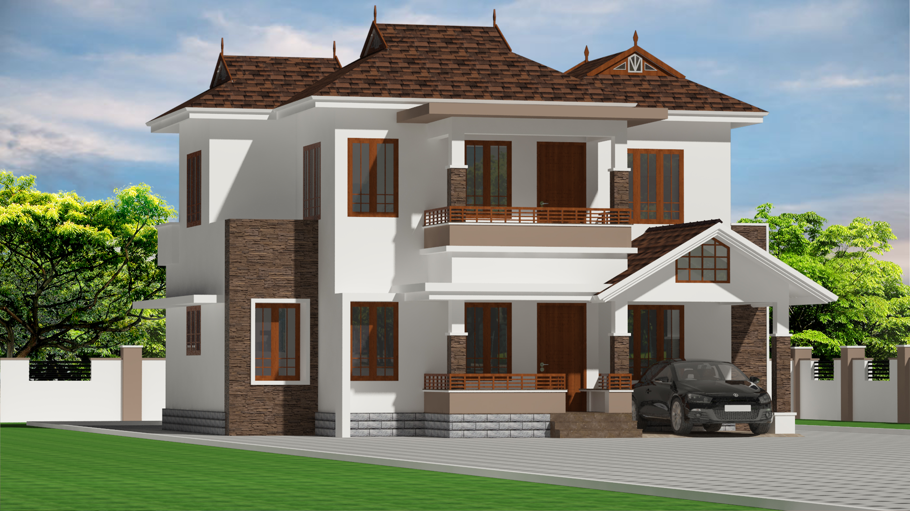 1539 Square Feet Double Floor Traditional+Contemporary Home Design