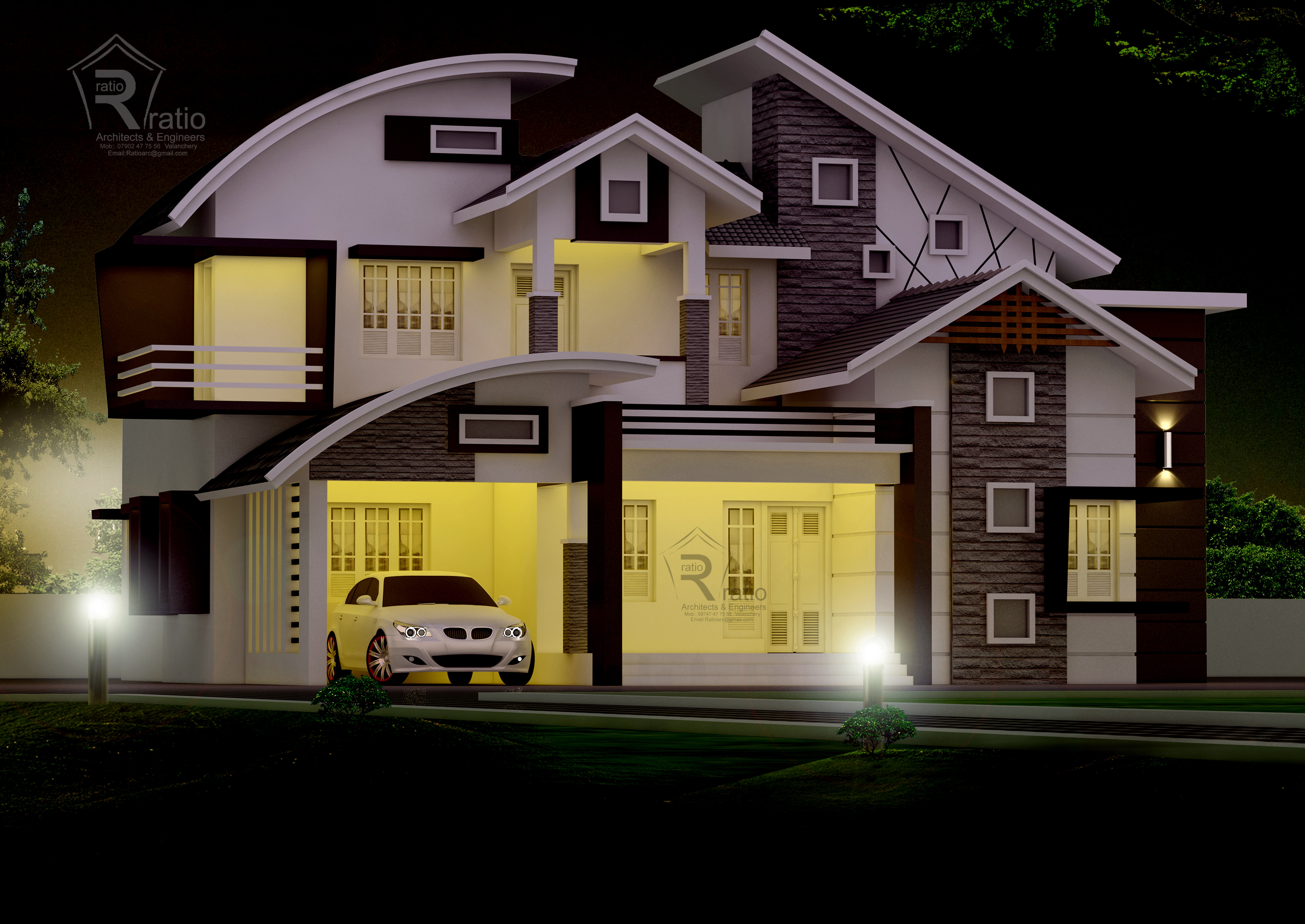 2600 Square Feet Mixed Roof style Home Design