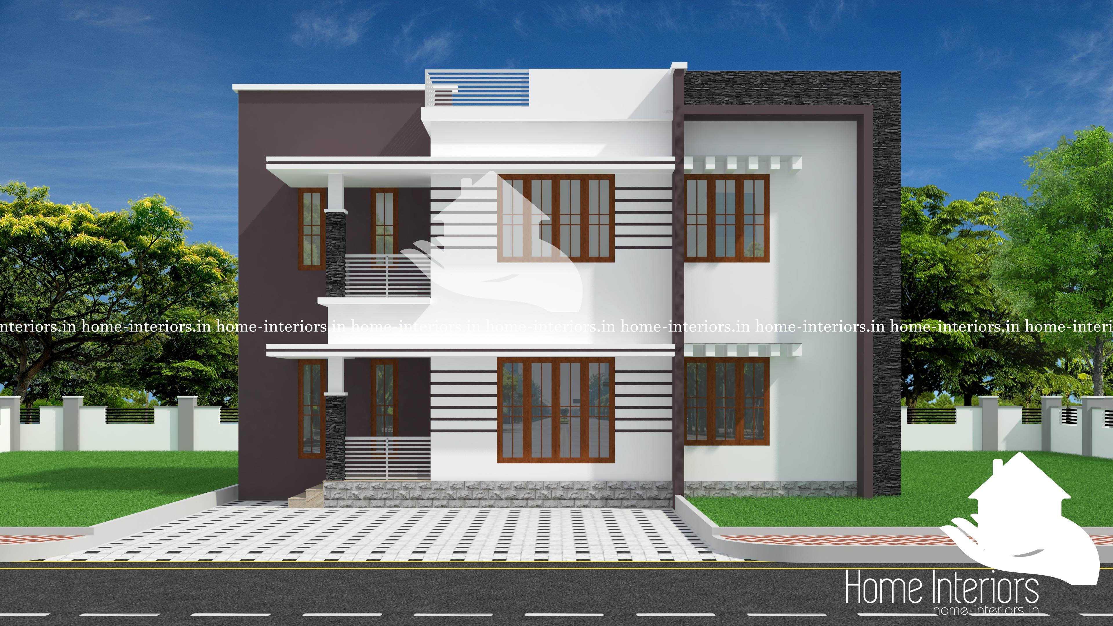 1216 Square Feet Contemporary Double Floor Home Design
