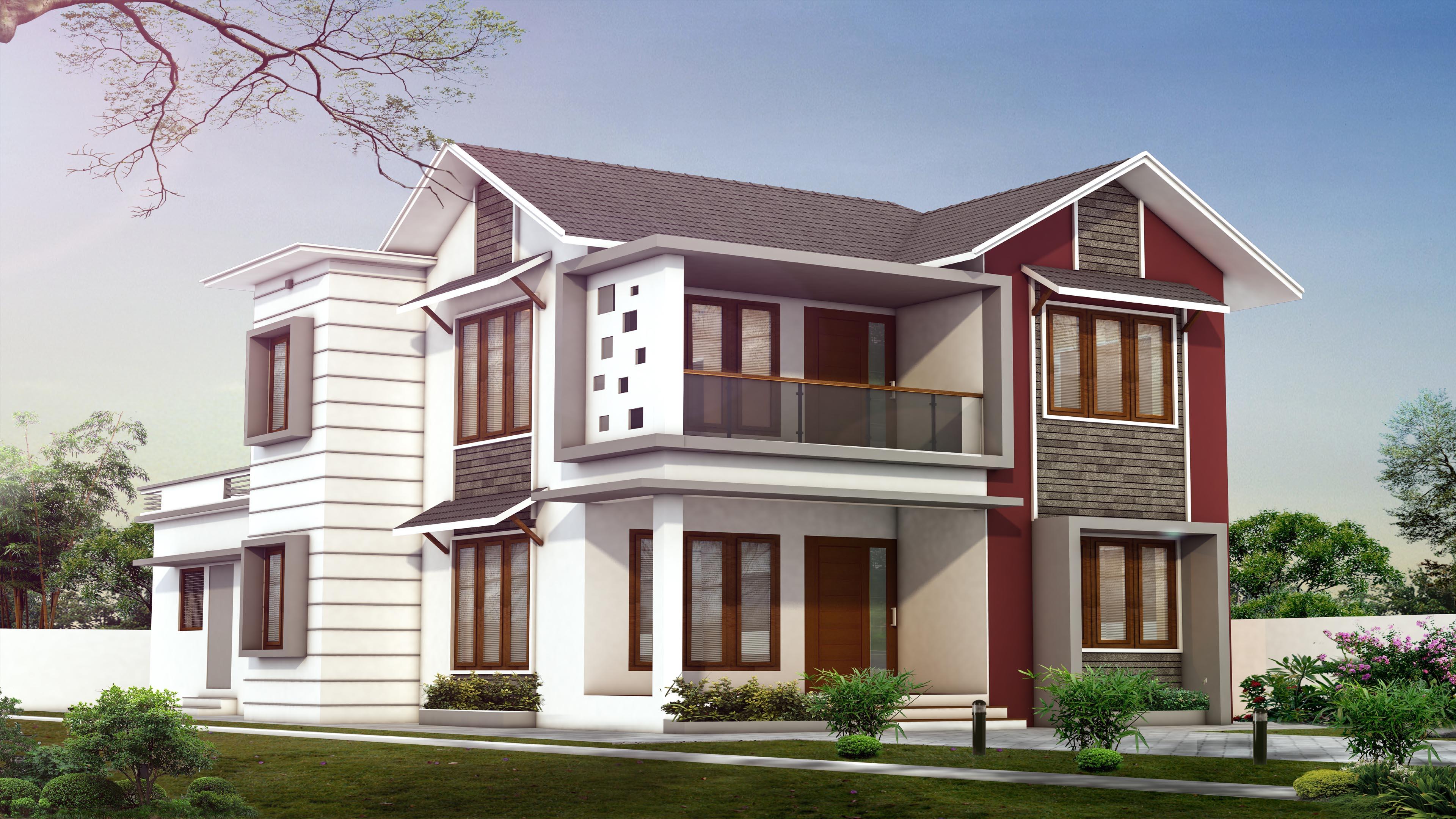 1718 Square Feet Double Floor Contemporary Home Design